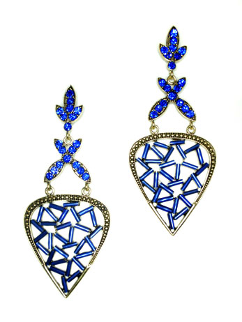 Lapis Flower Geometric Earrings