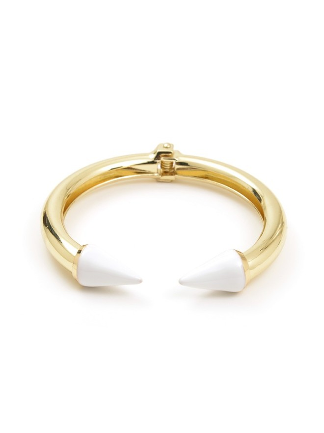 Spike Cuff, White & Gold