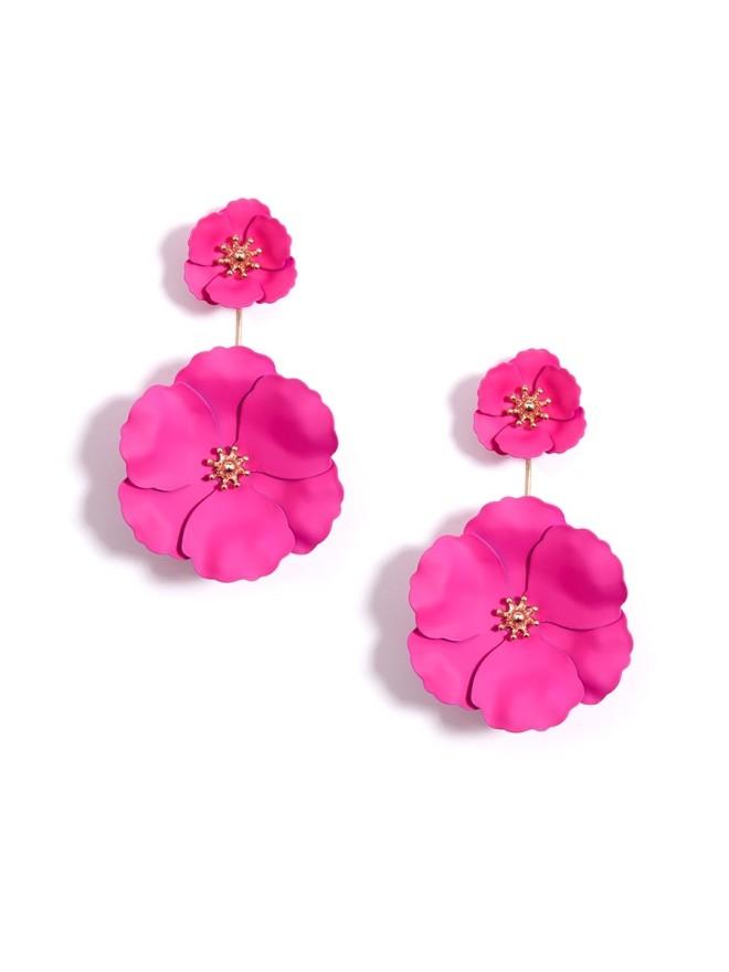 Camellia Drop Earrings Hot Pink