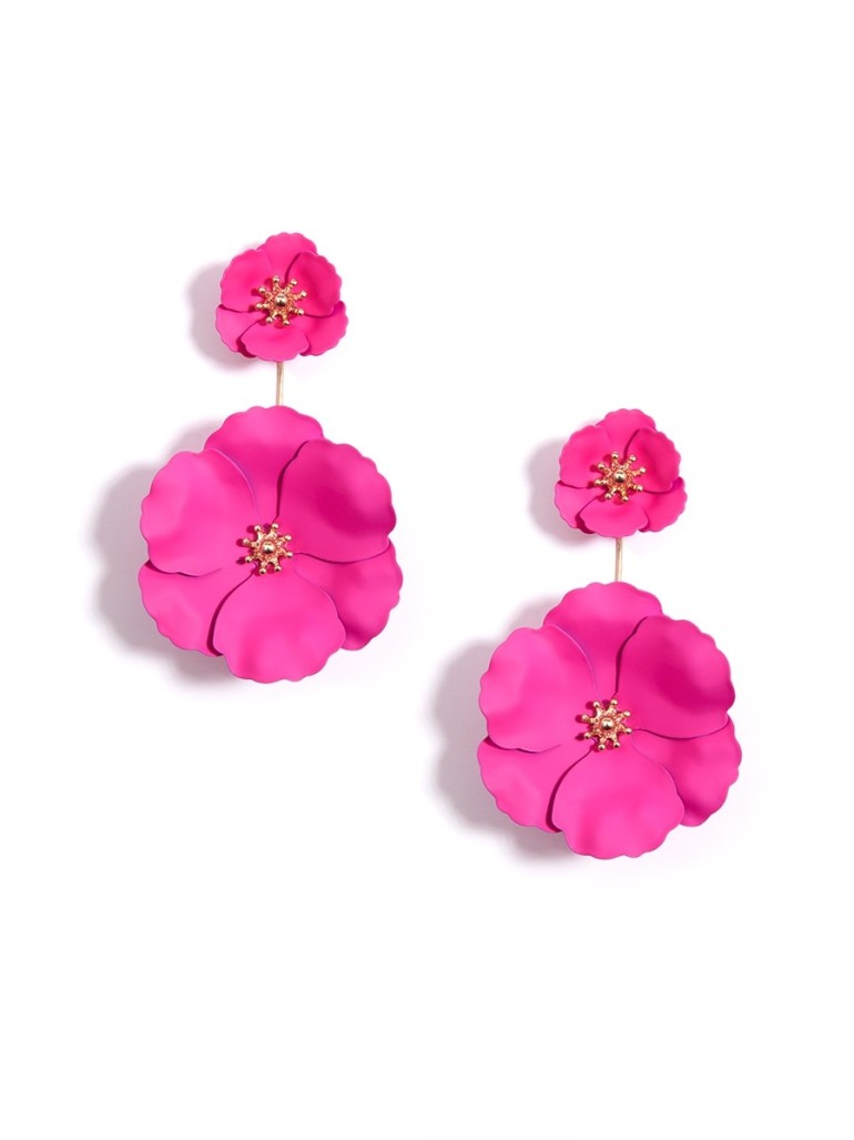 Camellia Drop Earrings Hot Pink